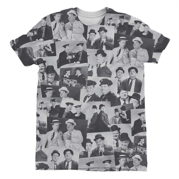 Laurel & Hardy Black & White Portrait Montage Men's T-Shirt