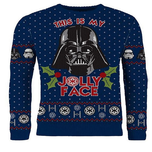 Star Wars Darth Vader 'This is My Jolly Face' Navy Unisex Christmas Jumper
