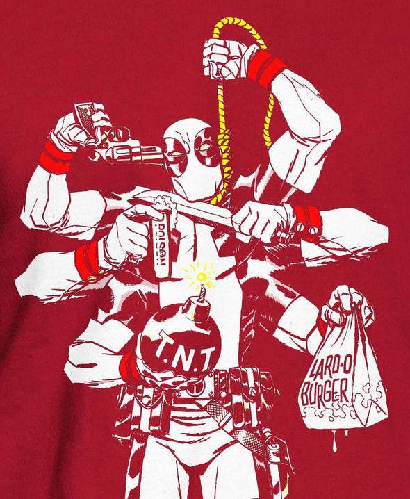 Deadpool Multi Hands Men's Red T-Shirt