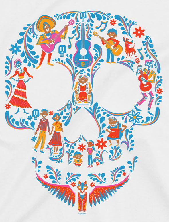Disney Pixar Coco Skull Children's Unisex White T-Shirt