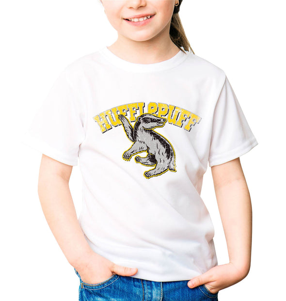 Harry Potter Distressed Hufflepuff Badger Children's Unisex White T-Shirt