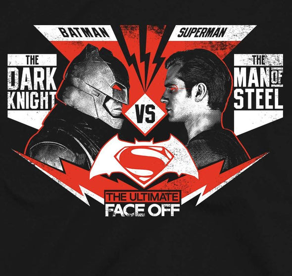Batman VS. Superman Face Off Men's Black T-Shirt