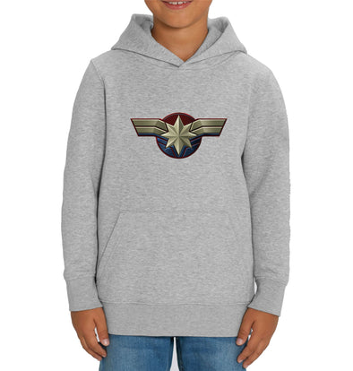 Captain Marvel Emblem Children's Unisex Grey Hoodie