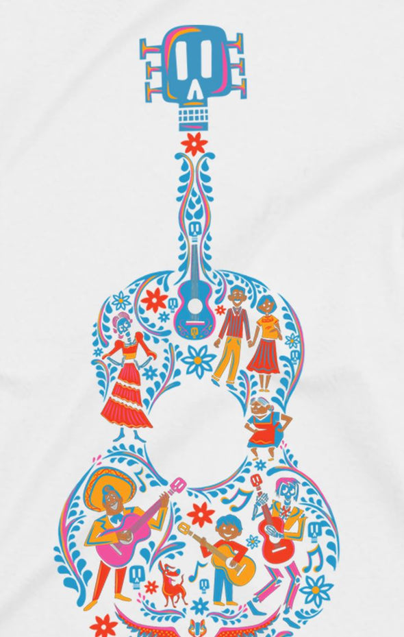Disney Pixar Coco Guitar Ladies White T-Shirt