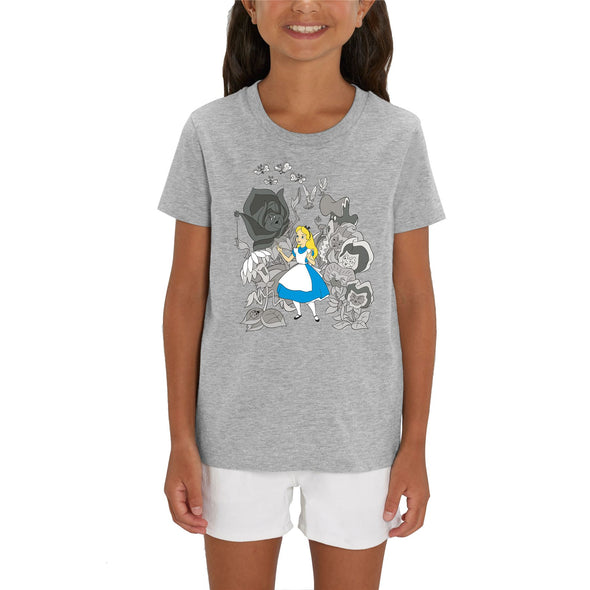 Alice In Wonderland Black & White Flowers Children's Unisex Grey T-Shirt