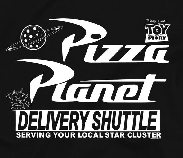 Toy Story Planet Pizza Children's Unisex Black T-Shirt