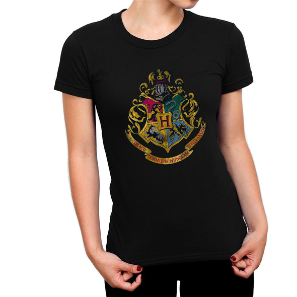 Harry Potter Distressed Hogwarts Crest Ladies Black T-Shirt
