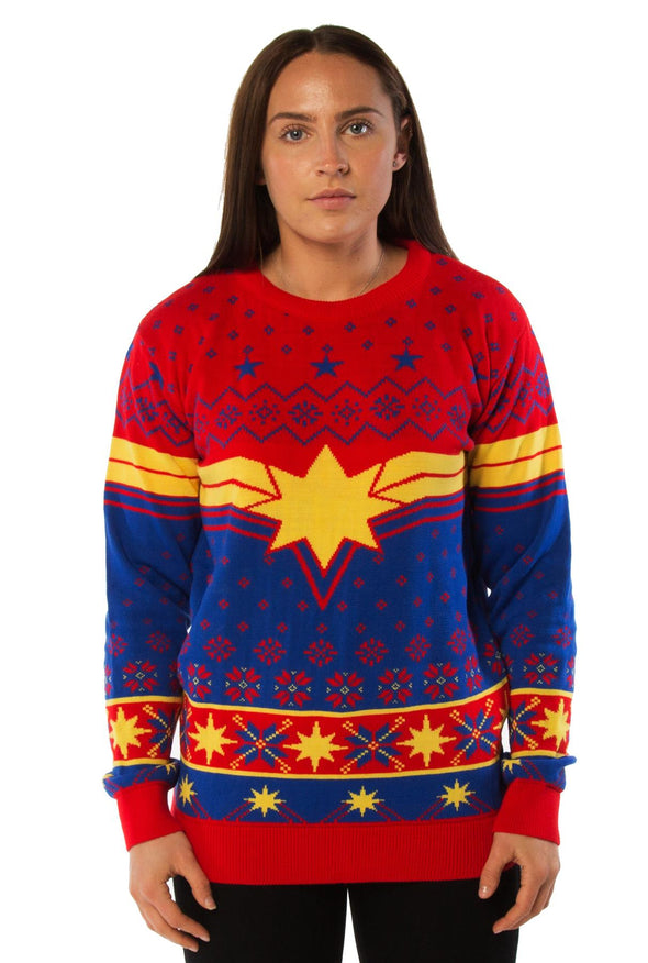 Captain Marvel Emblem Red & Blue Knitted Christmas Jumper