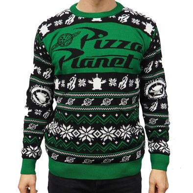 Official Toy Story Pizza Planet Green Knitted Christmas Jumper
