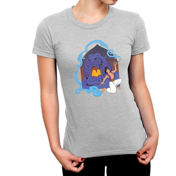 Aladdin Cave of Wonders Ladies Grey T-Shirt