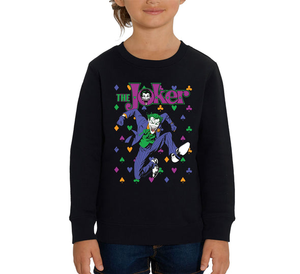 DC Comics The Joker Playing Cards Icons Children's Unisex Black Sweatshirt
