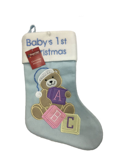 Baby's First Christmas Blue Stocking