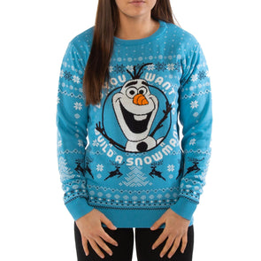 Frozen Olaf Do You Want To Build a Snowman Blue Knitted Christmas Jumper