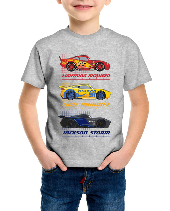 Disney Pixar Cars Top Three Racers Children's Unisex Grey T-Shirt