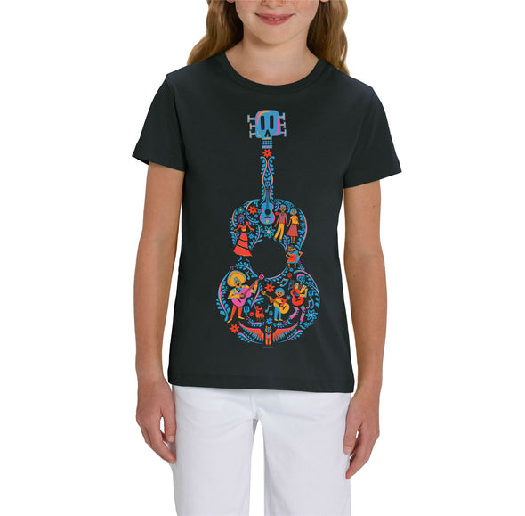 Disney Pixar Coco Guitar Children's Unisex Black T-Shirt