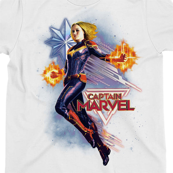 Captain Marvel Flying Galactic Shine Ladies White T-Shirt