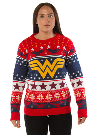 Wonder Woman Classic Logo Red Ladies Fitted Knitted Christmas Jumper