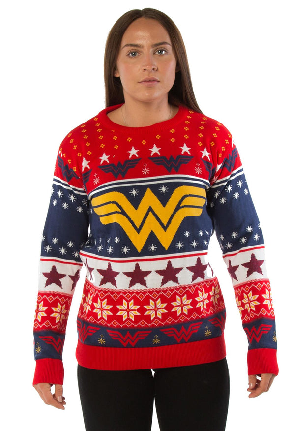 Wonder Woman Classic Logo Red Knitted Christmas Jumper
