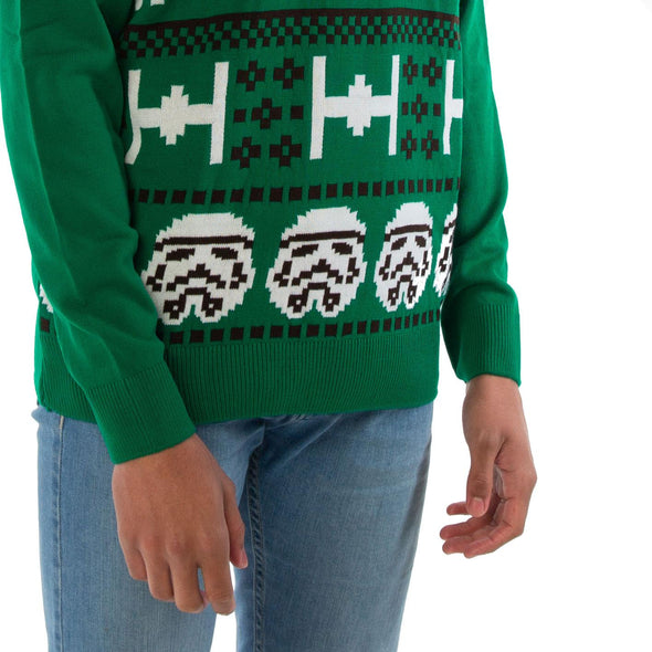 London Co. Star Wars Stormtrooper Green Unisex Christmas Knitted Jumper