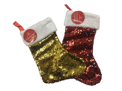 Reversable Sequin Christmas Stocking Red / Gold