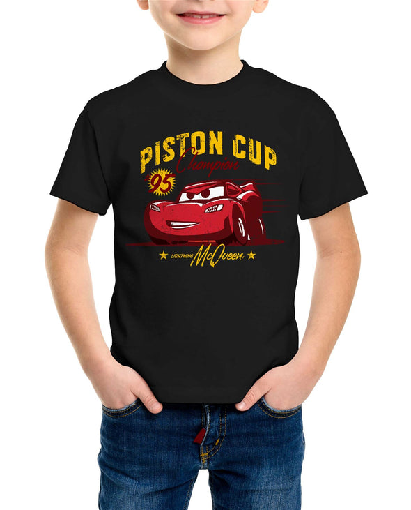 Disney Pixar Cars Piston Cup Champion Children's Unisex Black T-Shirt