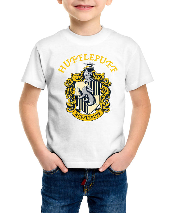Harry Potter Hufflepuff Logo & Crest Children's Unisex White T-Shirt