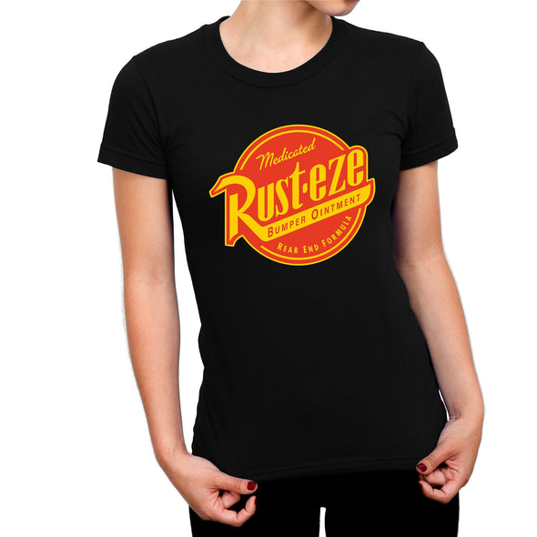 Disney Pixar Cars Rust-eze Logo Ladies Black T-shirt