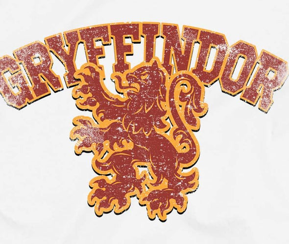 Harry Potter Distressed Gryffindor Lion Ladies White T-Shirt