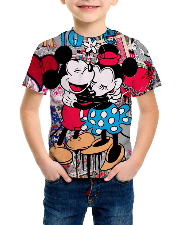 Disney Mickey And Minnie Mouse Hug Love Collage Children's Unisex T-Shirt