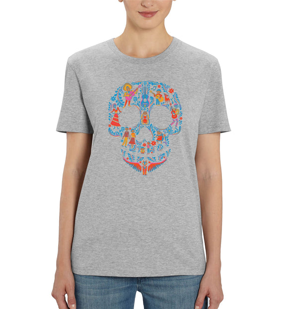 Disney Pixar Coco Skull Ladies Grey T-Shirt