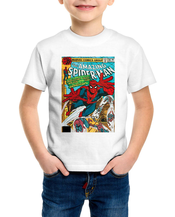 Spiderman The Amazing Spiderman Marvel Comic Book Cover Children's Unisex White T-Shirt