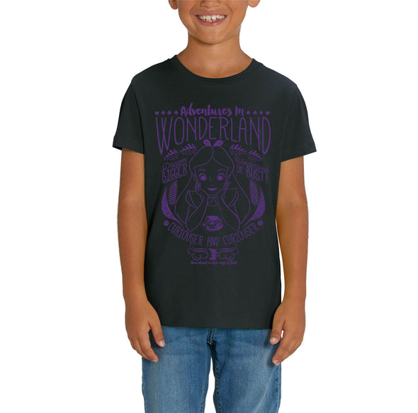 Alice In Wonderland Adventures In Wonderland Children's Unisex Black T-Shirt