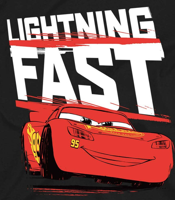 Disney Pixar Cars Lightning Fast Ladies Black T-Shirt