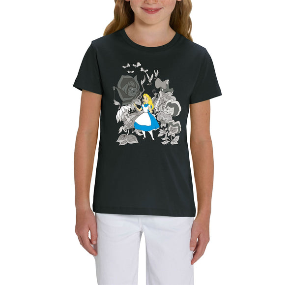 Alice In Wonderland Black & White Flowers Children's Unisex Black T-Shirt