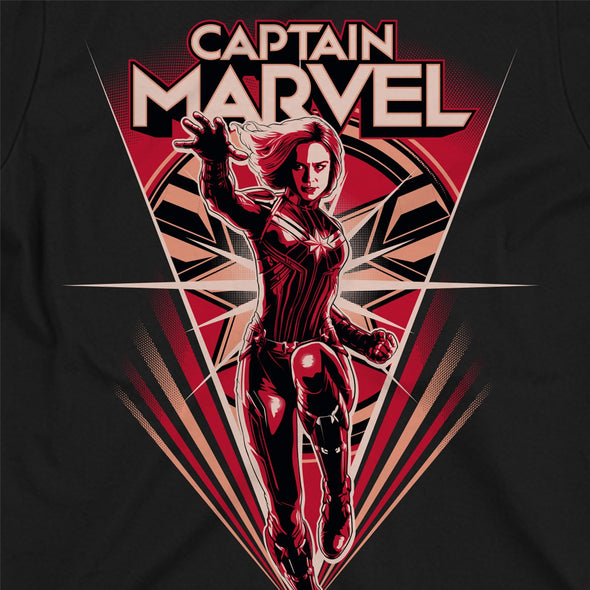 Captain Marvel Flying V Children's Unisex Black T-Shirt