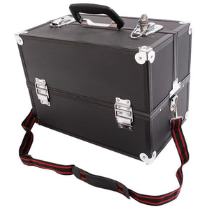 "14"" Aluminum Makeup Case Cosmetic Train Storage Trays Lock Jewelry with 2 Keys - ZATAKI"