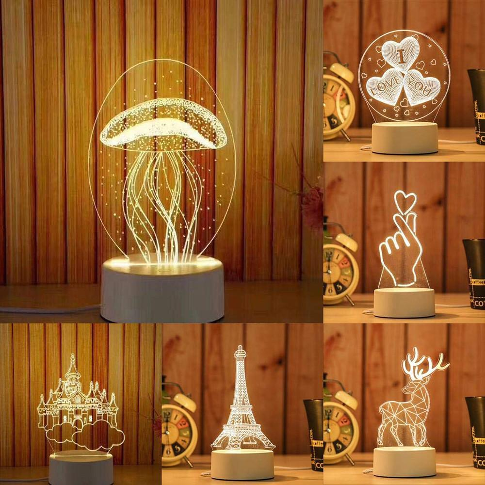 3D Pattern Acrylic Night Light - ZATAKI