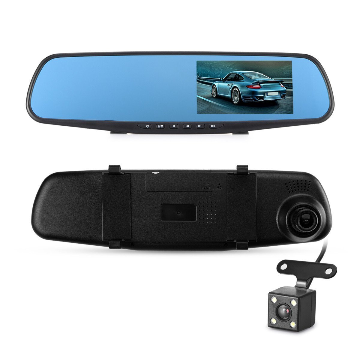 "4.3"" Dual Lens 1080P FHD Dash Camera Car Rear View Mirror DVR Video Recorder Camcorder Support Motion Detection/G-sensor/Loop Video/120 Degree Wide Angle with Rear Camera - ZATAKI"