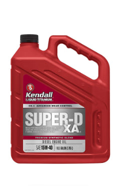 15W40 Super-D XA Synthetic Blend Diesel Engine Oil with Liquid Titanium by Kendall