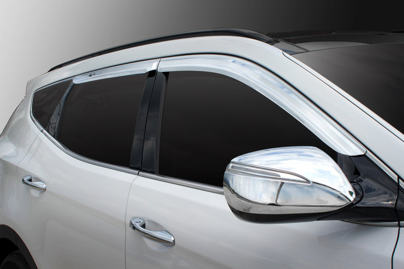 4-Piece Chrome Window Vent Visors Rain Guards for Hyundai Santa Fe 2012 - 2018