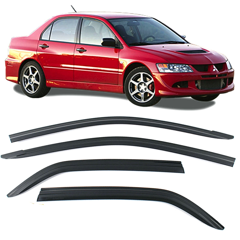4-Piece Smoke (Black) Window Vent Visors Rain Guards for Mitsubishi Lancer 2006+ Free Shipping - Motor City Auto