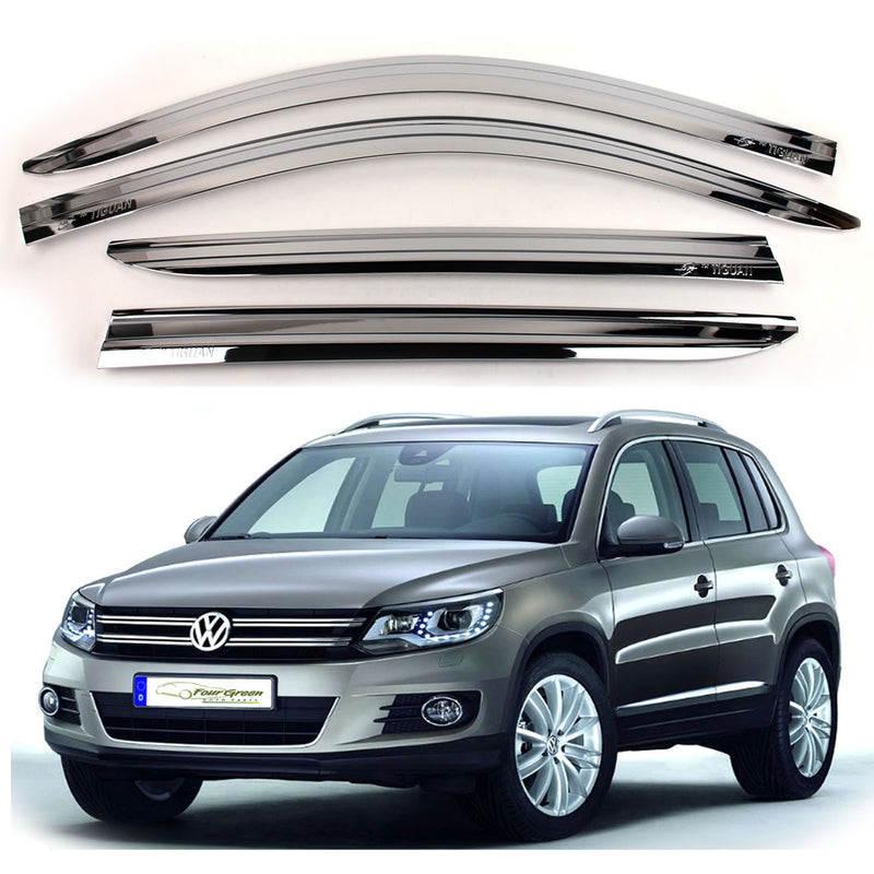 4-Piece Chrome Window Vent Visors Rain Guards for Volkswagen Tiguan 2008 - 2012+ Free Shipping - Motor City Auto