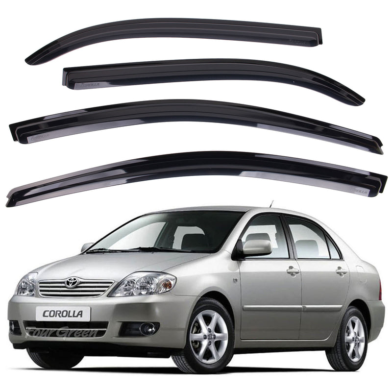 4-Piece Smoke (Black) Window Vent Visors Rain Guards for Toyota Corolla 2001 - 2006 Free Shipping - Motor City Auto