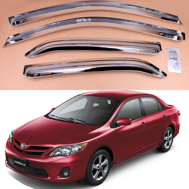 4-Piece Chrome Window Vent Visors Rain Guards for Toyota Corolla 2007 - 2013
