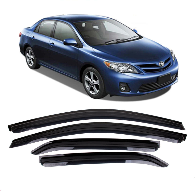 4-Piece Smoke (Black) Window Vent Visors Rain Guards for Toyota Corolla 2007 - 2013