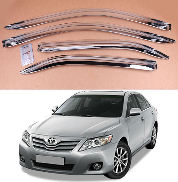 4-Piece Chrome Window Vent Visors Rain Guards for Toyota Camry 2006 - 2011