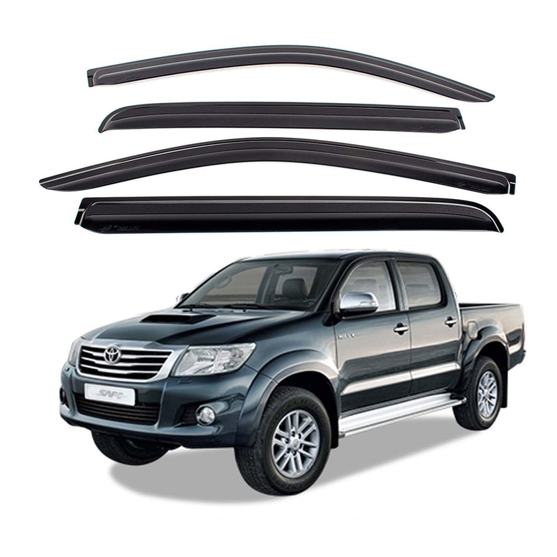 4-Piece Smoke (Black) Window Vent Visors Rain Guards for Toyota Hilux 2006 - 2015 Free Shipping - Motor City Auto
