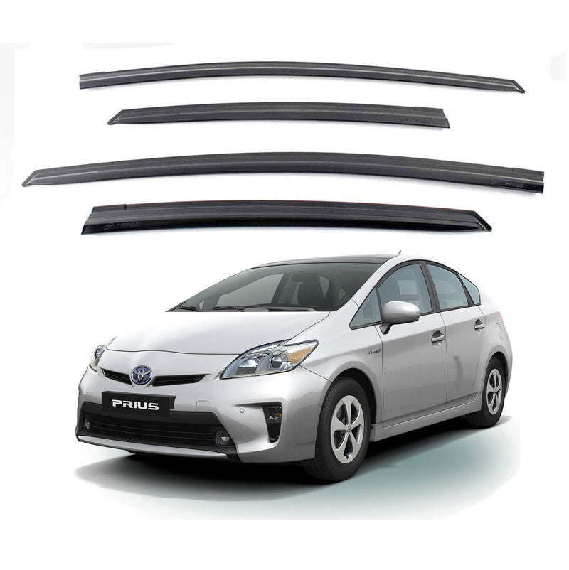 4-Piece Smoke (Black) Window Vent Visors Rain Guards for Toyota Prius 2010 - 2016