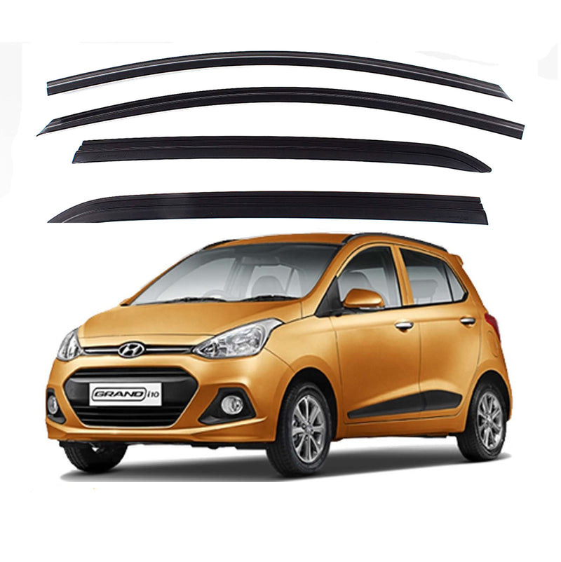4-Piece Smoke (Black) Window Vent Visors Rain Guards for Hyundai i10 Grand 2013 - 2017+