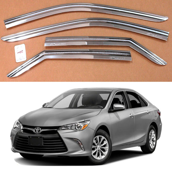 4-Piece Chrome Window Vent Visors Rain Guards for Toyota Camry 2015 - 2017